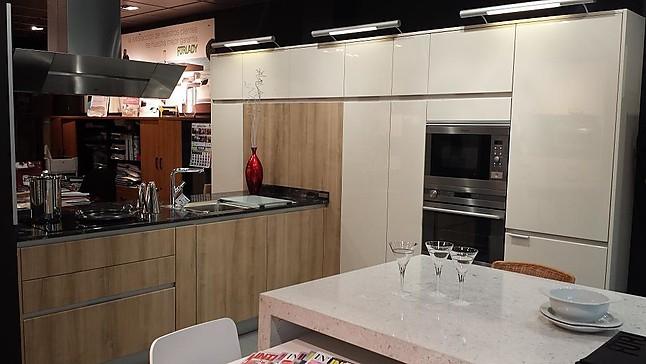 Forlady-cocina de exposición Mueble polilaminado beige brillo y ...