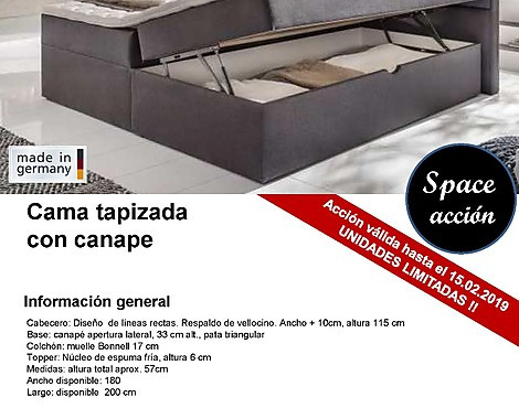 Cama tapizada con canape - Made in Germany - modelo SPACE