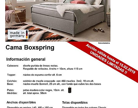 auténtica cama Boxspring Made in Germany - modelo KLIO