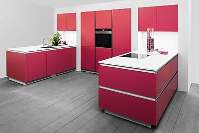 Cocina sin tirador en rojo
