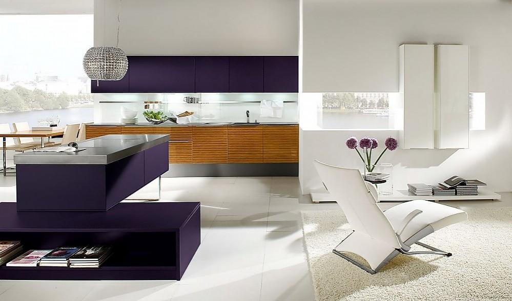 Cocina abierta con banco para sentarse en madera de - Cocinas lacadas en blanco ...