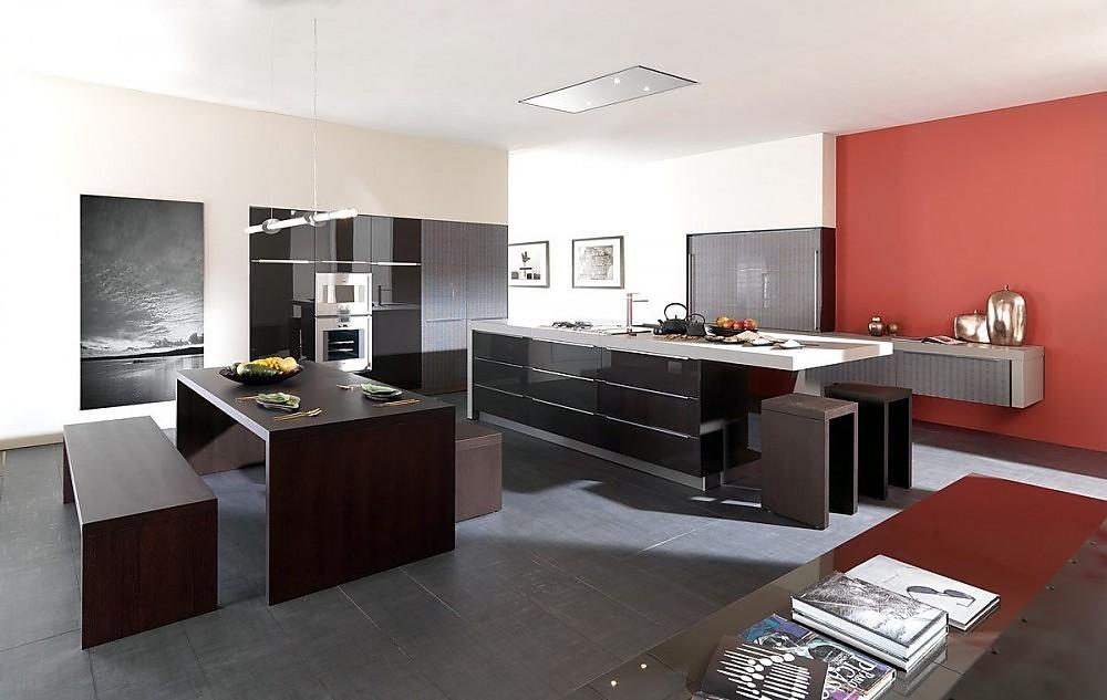 Isla de cocina en marr n sepia con cristal y armarios columna en gris piedra - Cocinas exposicion ocasion ...