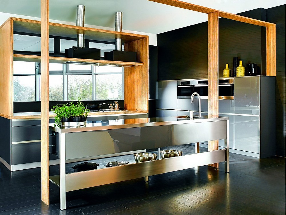 Isla de cocina en grafito y madera de zebrano - Cocinas exposicion ocasion ...