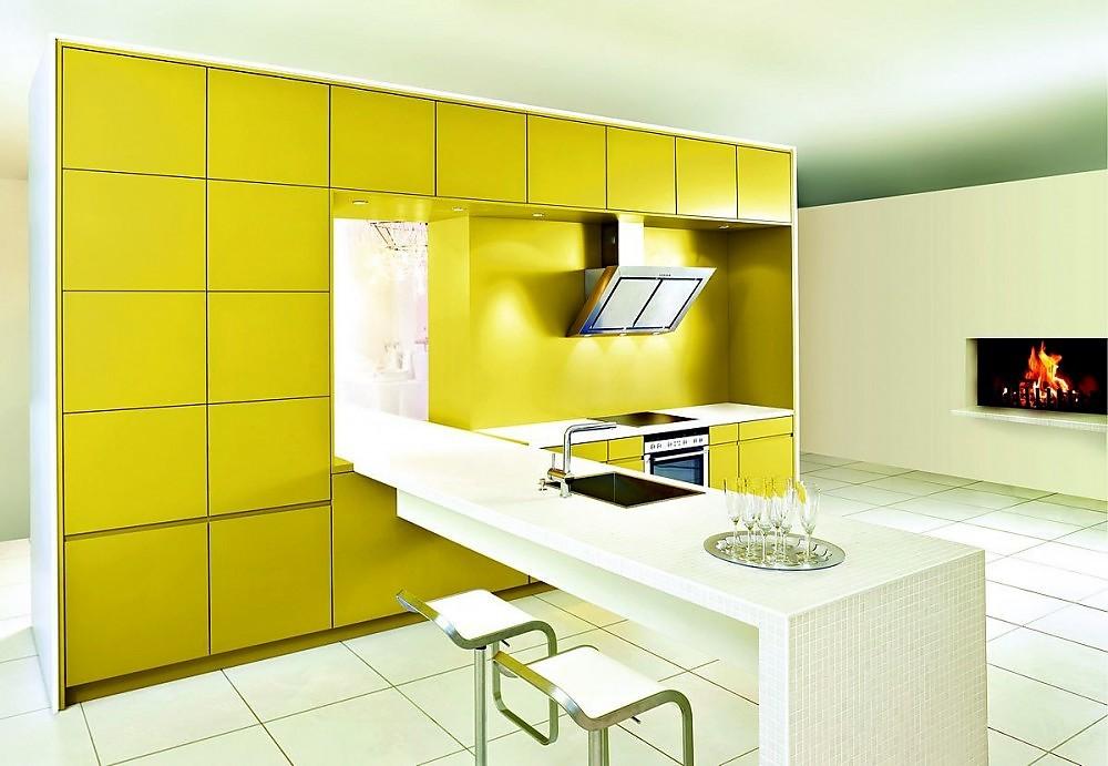 Isla de cocina sickens en amarillo mostaza con barra de for Islas de cocina con barra