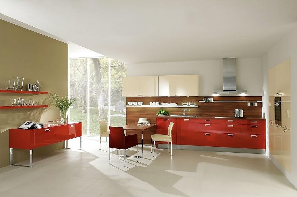 Cocina en l nea y aparador en rojo coral la mesa de for Cocinas integrales en linea