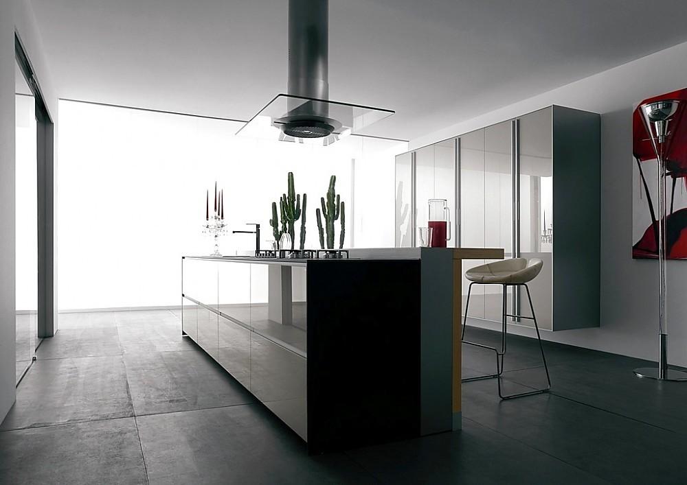 Isla de cocina en marrón sepia con cristal y armarios columna en ...