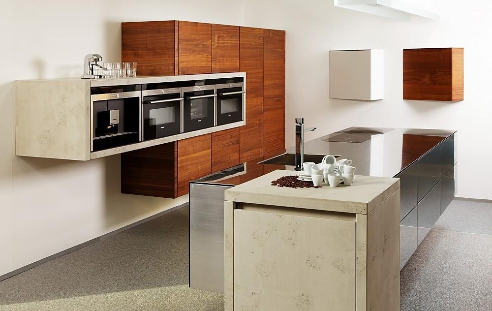 Cocina cube y balance en acero hormig n y madera oscura for Planificador cocinas online