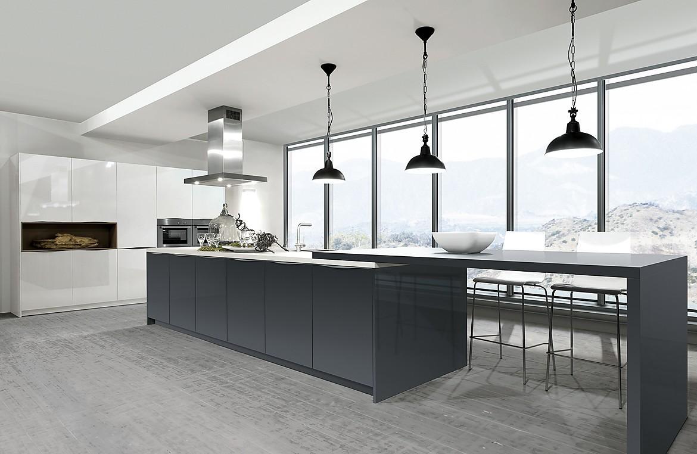 Cocina de diseño laca alto brillo blanco y Carbon