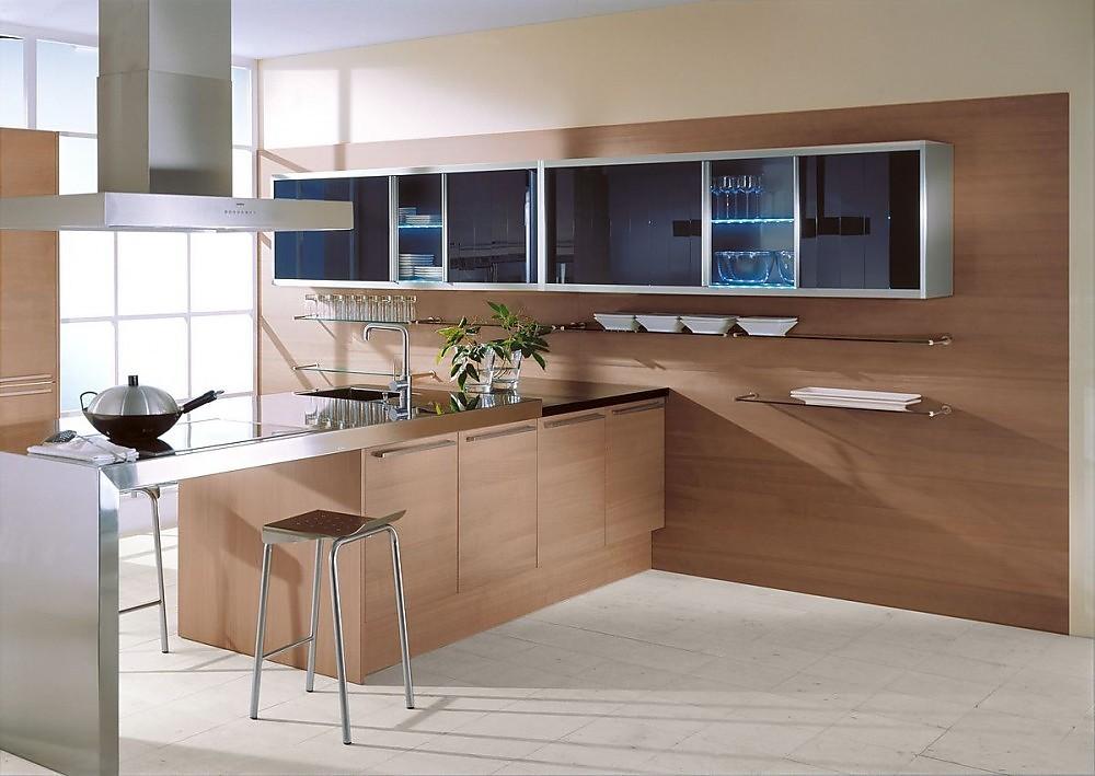 Cocina americana en madera de cerezo plateada y con for Mueble cocina americana