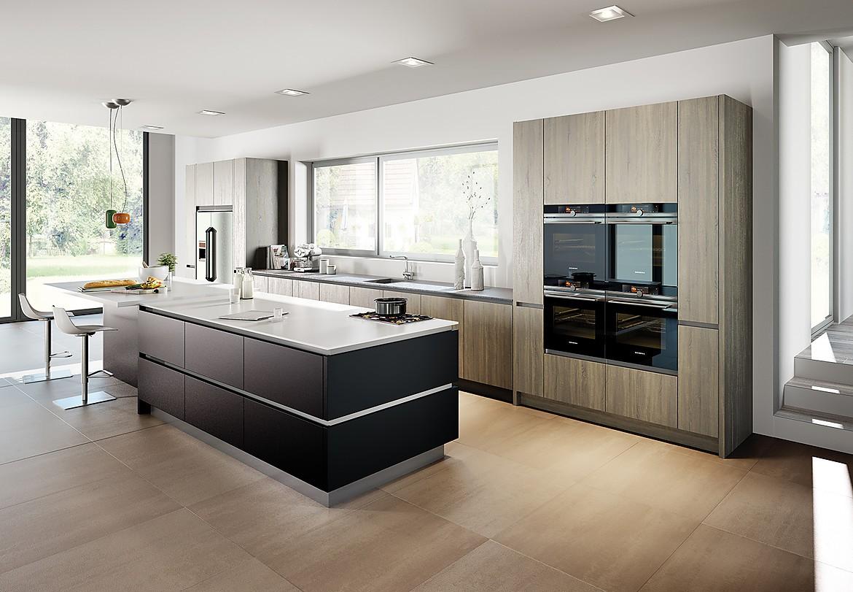cocina sin tirador gola en acero inox frente laca mate On frente de cocina negro mate
