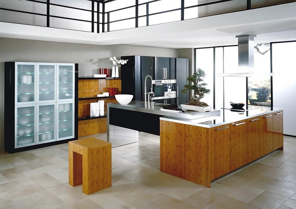Isla de cocina finca nova hg bambu y lacada en negro for Diseno de cocinas online