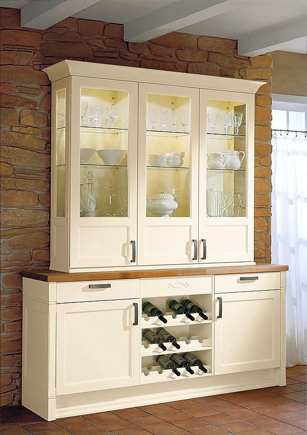 Buf de cocina con extra ble y estanter a para vinos en vainilla y puertas de cristal - Estanterias para la cocina ...