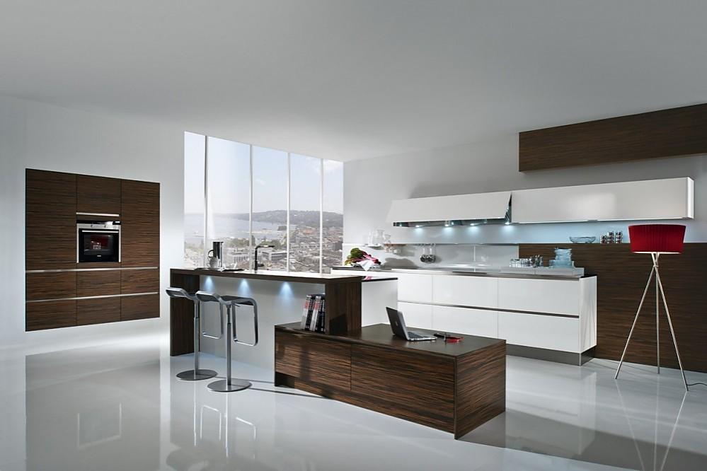 Isla de cocina en madera de bano de macasar con detalles en blanco puro de alto brillo - Cocinas exposicion ocasion ...