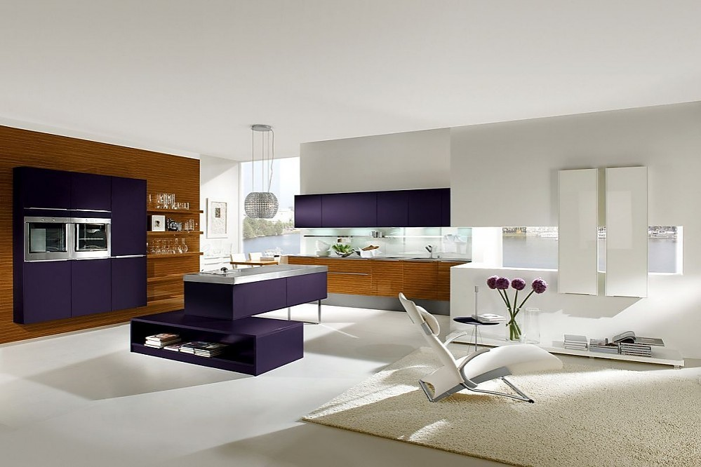 Isla de cocina en cocina americana amplia con zona de for Sala de estar y comedor