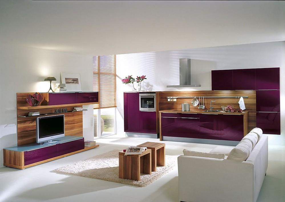 Cocina en l nea y sala de estar de madera en color - Cocinas color berenjena ...