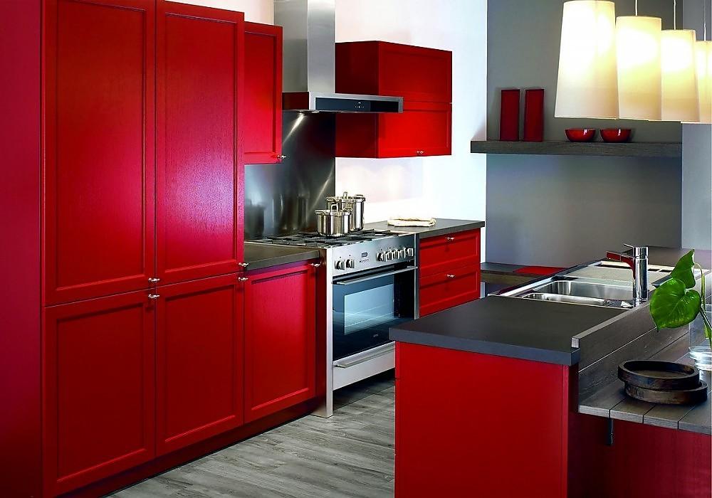 Isla de cocina en madera de roble roja for Cocinas de madera de roble