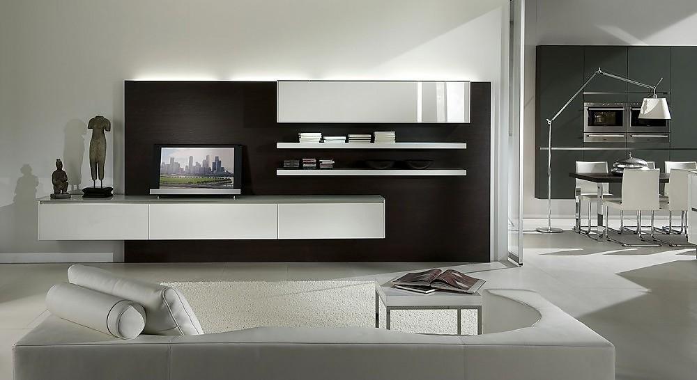 Cocina comedor abierta a la sala de estar en blanco y gris for Sala de estar y comedor