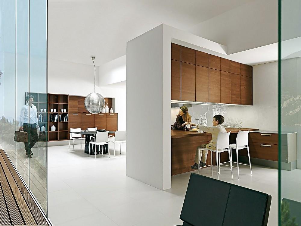 Cocina abierta con barra de nogal for Disenos cocinas abiertas