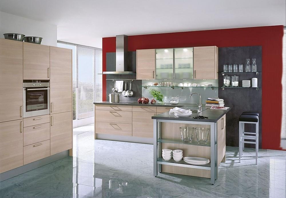 Cocina en l en madera de roble y lacado gris piedra con for Cocinas en l modernas