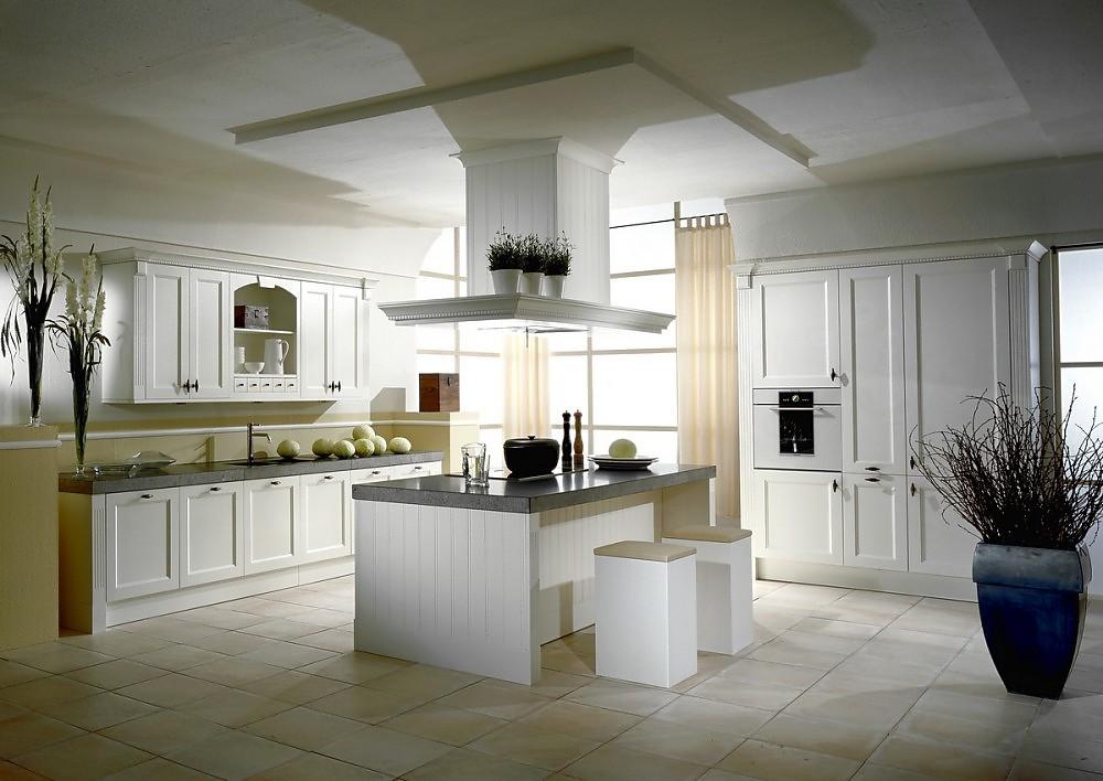 Isla de cocina blanca oxford en estilo r stico de madera - Cocina rustica blanca ...