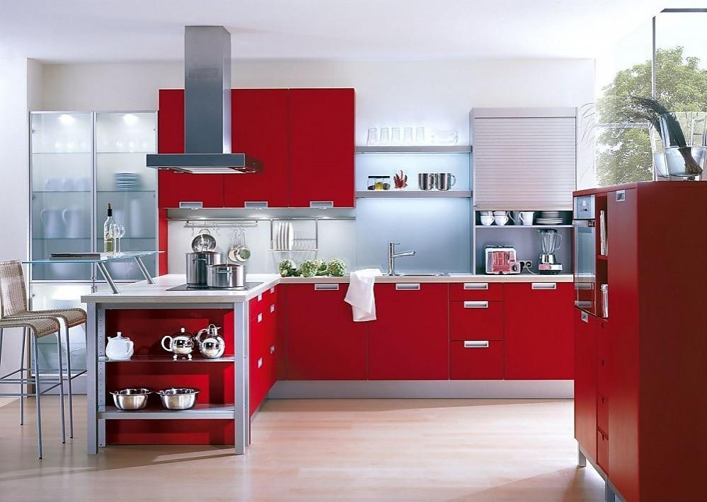 Cocina En L En Rojo Rubi Con Barra De Cristal - Cocinas-en-rojo