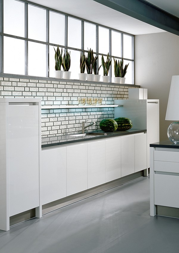 Isla de cocina sin tiradores integra nova hg en blanco alto brillo - Cocinas sin tiradores ...